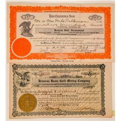 Two Bruneau Mining Stock Certificates  (101579)