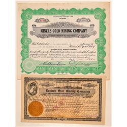 Two Gold Circle, Nevada Mining Stock Certificates  (101595)
