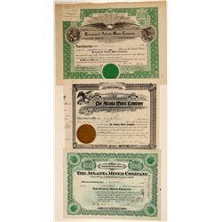 Atlanta Mines Company Stock Certificate Trio  (102533)
