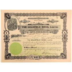 Goldfield Mines, Ltd. Stock Certificate Signed by EB Yerington  (102544)