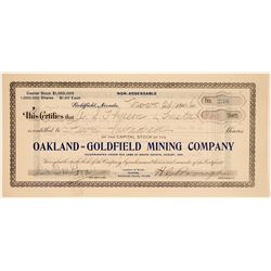 Oakland-Goldfield Mining Co. Stock Signed by Brougher  (102543)