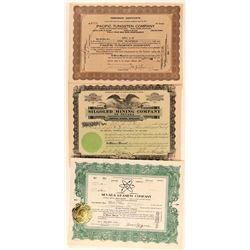 Three Different Lovelock Mining Stock Certificates  (101636)