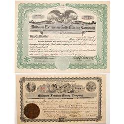 Two Milltown Stock Certificate  (59877)