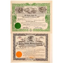 Two Mountain City, Nevada Mining Stock Certificates  (101597)