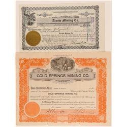 Two Rare Nye County Mining Stock Certificates   (101639)