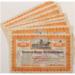 Tonopah Divide Mining Co. Stock Certificates signed by Brougher  (67085)