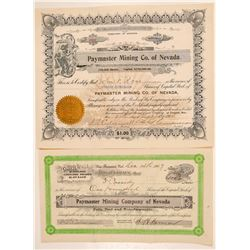 Two Paymaster Mining Co. of Nevada Stock Certificates   (101580)