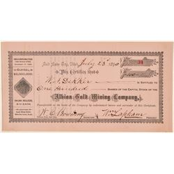 Albion Gold Mining Company Stock Certificate  (100932)