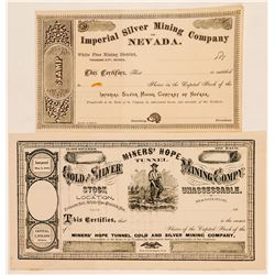Two White Pine Mining District Stock Certificates  (91879)