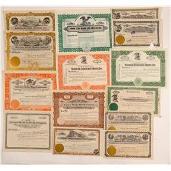 14 Unissued Nevada Mining Stock Certificates  (102492)