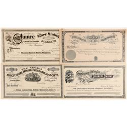 Four Unissued Nevada Mining Stock Certificates  (100809)