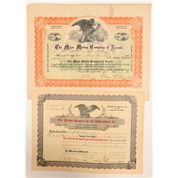 Two Generic Named Nevada Mining Stock Certificates  (102172)