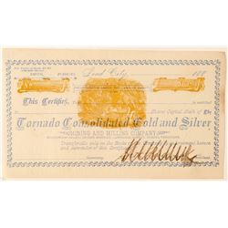 Tornado Cons. Gold & Silver Mining & Milling Co. Stock signed by Seth Bullock  (100782)