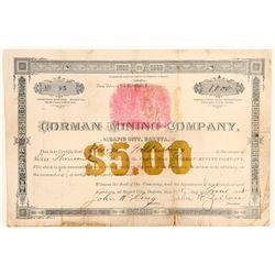Gorman Mining Company Stock Certificate  (100804)