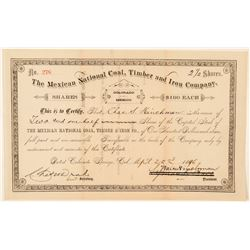 The Mexican National Coal, Timber and Iron Co. Stock Certificate  (91870)