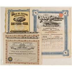 Mines de Cuivre Argentifere, DeMinas Del Rif, The Pena Copper Mines Limited Bond Certificates  (8180