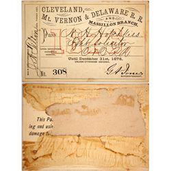 Cleveland, Mt. Vernon & Delaware Railroad Pass, 1876  (60360)