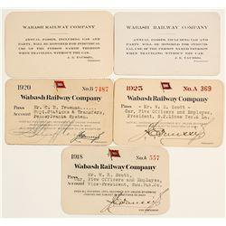 Five Wabash Railway Company Passes  (60341)