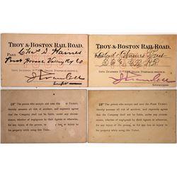 Two 1880s Troy & Boston Railroad Passes  (60323)