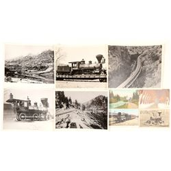 Nine  8x10 photograph reproductions and postcards of Tahoe area Railroads  (99734)
