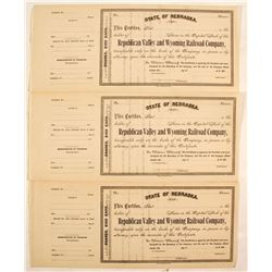 Republican Valley and Wyoming Railroad Company Stock Certificates  (81050)