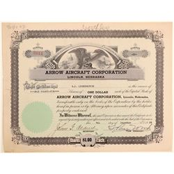 Arrow Aircraft Corporation Stock Certificate  (103419)