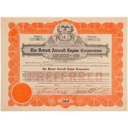 Detroit Aircraft Engine Corp. Stock Certificate to Eddie Rickenbacker  (103404)