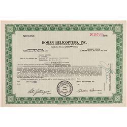 Doman Helicopters, Inc. Stock Certificate  (102623)