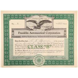Franklin Aeronautical Corporation Stock Certificate  (102634)