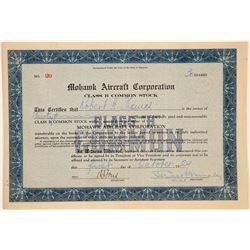 Mohawk Aircraft Corporation Stock Certificate  (103456)