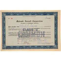 Mohawk Aircraft Corporation Stock Certificate  (103456)