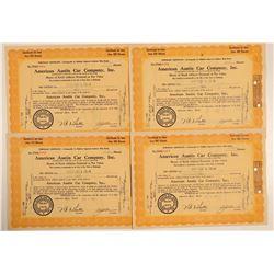 American Austin Car Company Stock Certificates  (103453)