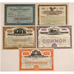 Auto Companies Stock Certificate Collection  (103451)