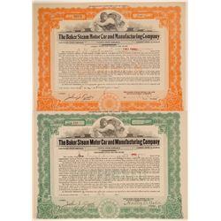 Baker Steam Motor Car & Manufacturing Co. Stock Certificates  (103457)
