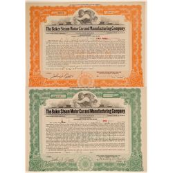 Baker Steam Motor Car & Manufacturing Co. Stock Certificates  (103457)