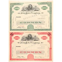 Two Specimen Ford Motor Company Stock Certificates  (91985)
