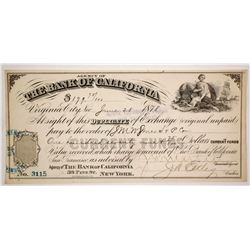 Bank of California Duplicate of Exchange, Virginia City, Nevada 1878  (59152)