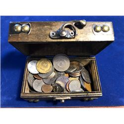 Wooden Treasure Chest Box FILLED with World Coins 1.5lbs