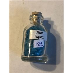 Glass Jar Filled with Blue Topaz Gemstomes Total Weight 25g