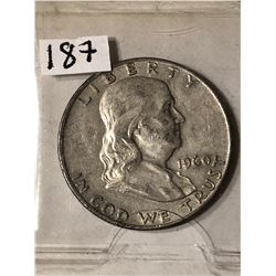 1960 D Franklin Silver Half Dollar Nice Early Silver US Coin