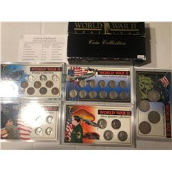 INCREDIBLE Original 1941-1945 WWII Coin Collection has 5 Hard Display Cased Sets of Coins including