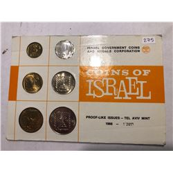 1966 Coins of Israel Proof Issue Collection in Original Package 6 Coin Set