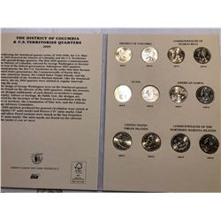 Complete 2009 District of Columbia and US Territories Commemorative Quarters Collention in Book 12 T