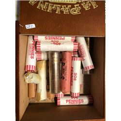Cigar Wooden Box Filled with Mixed Penny Rolls All for 1 Money Look at Pictures
