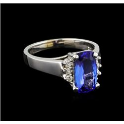 2.57 ctw Tanzanite and Diamond Ring - 14KT White Gold