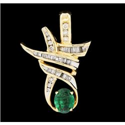 2.07 ctw Emerald And Diamond Pendant - 14KT Yellow Gold