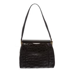 Fassbender Black Croc Vintage Leather Handbag