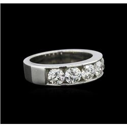 GIA Certified 1.64 ctw Diamond Wedding Band - 14KT White Gold