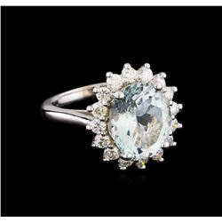4.28 ctw Aquamarine and Diamond Ring - 14KT White Gold