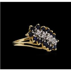 1.00 ctw Blue Sapphire and Diamond Ring - 10KT Yellow Gold